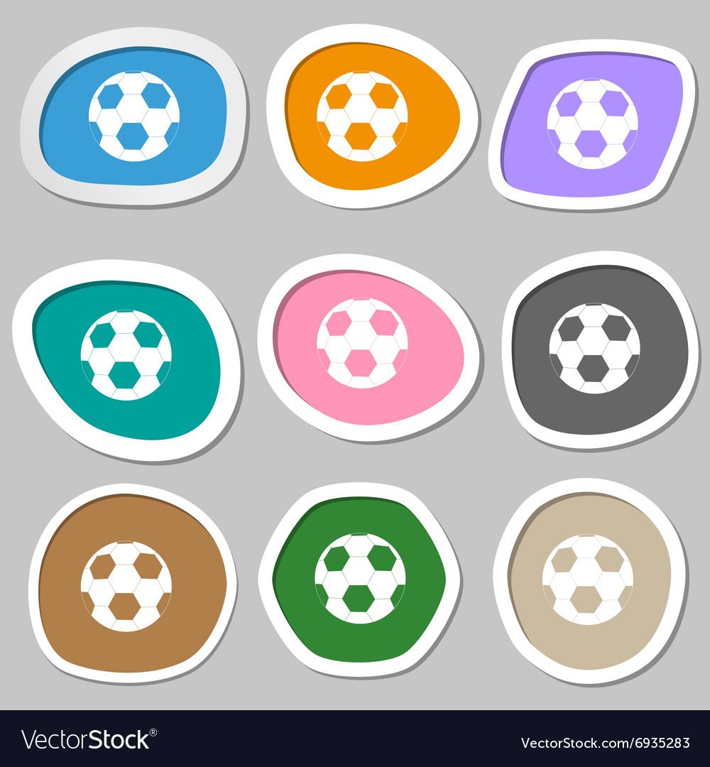 Football symbols Multicolored paper stickers vector image