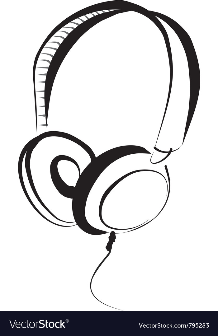 Head phones vector image