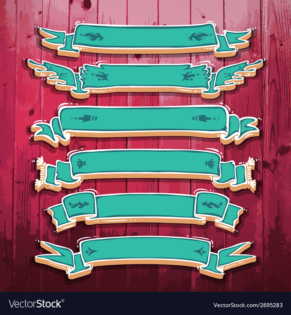 Vintage 3D Ribbons Set vector image