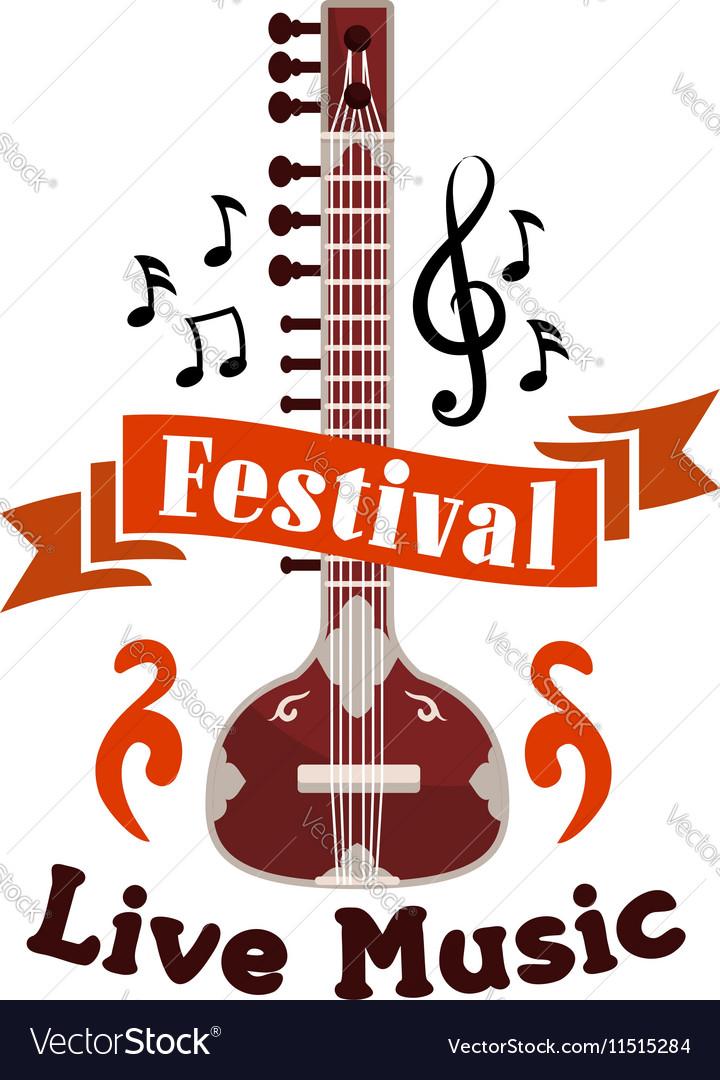 Live folk ethnic music festival emblem vector image