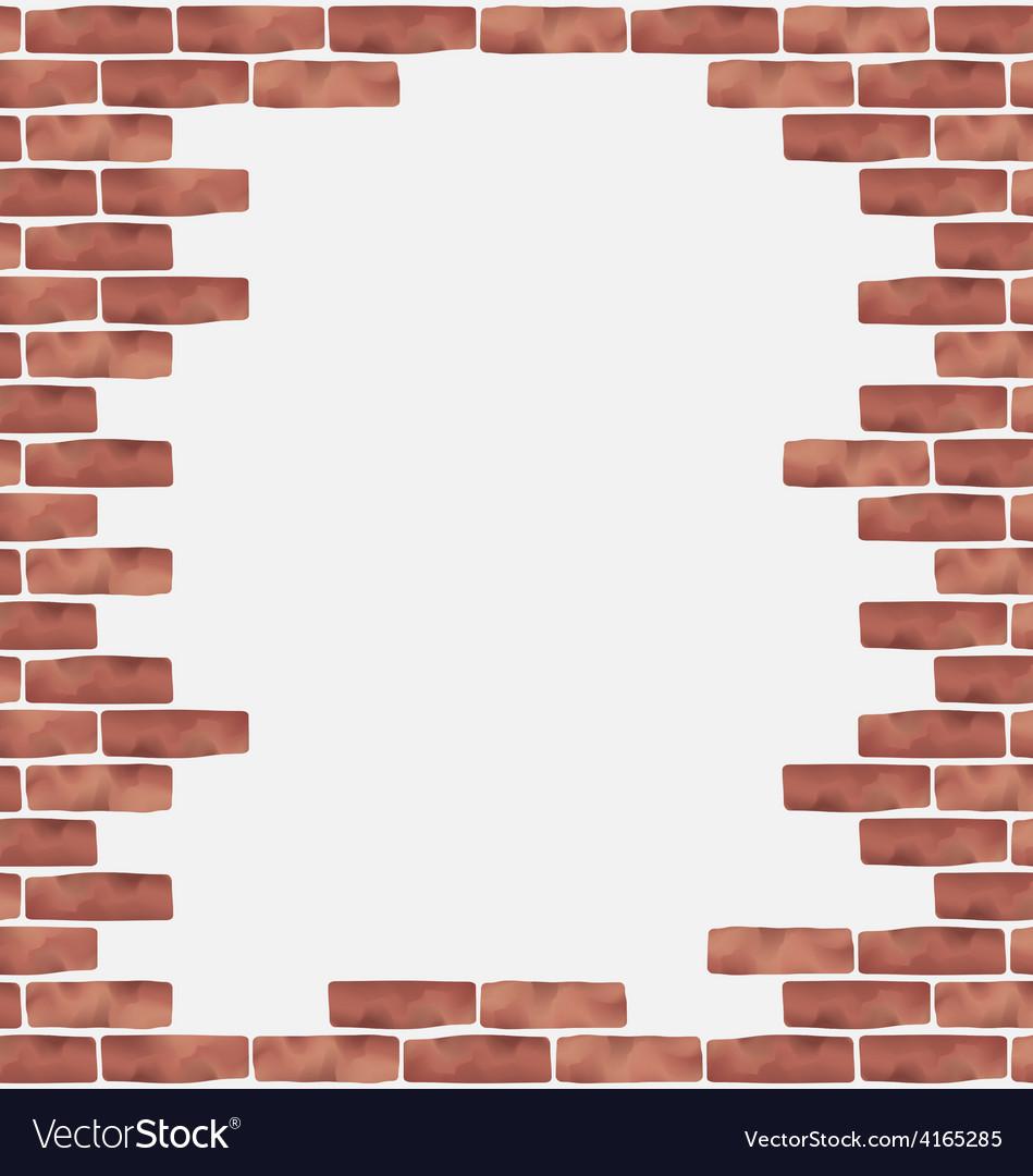 Broken brown brick wall grunge texture background vector image