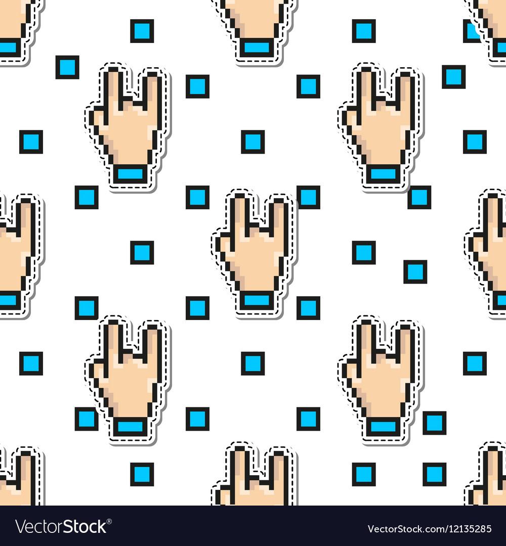 Thumbs Hand Rock seamless pattern gestures vector image