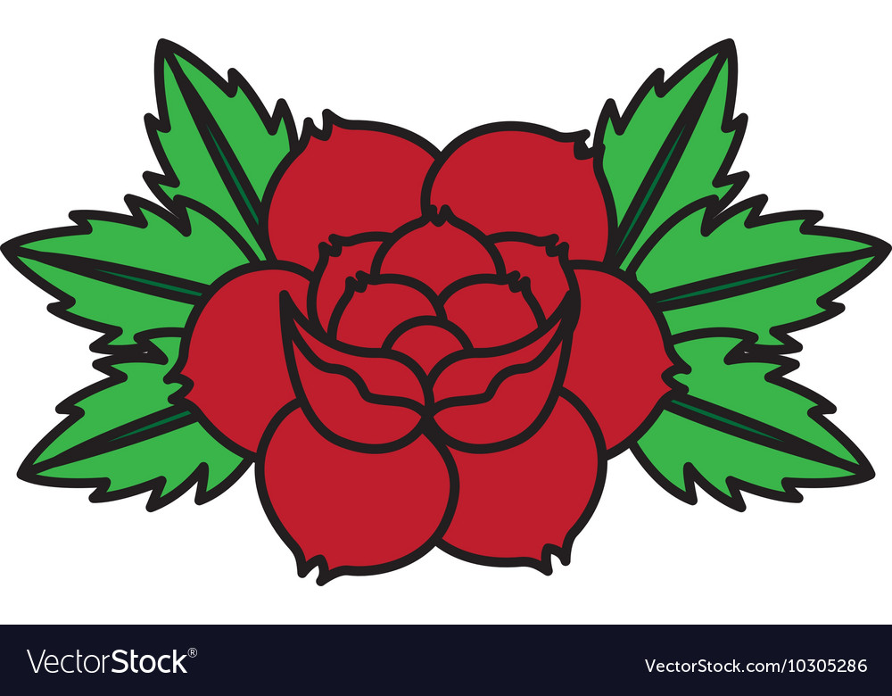 Flower drawing tattoo style isolated icon vector image