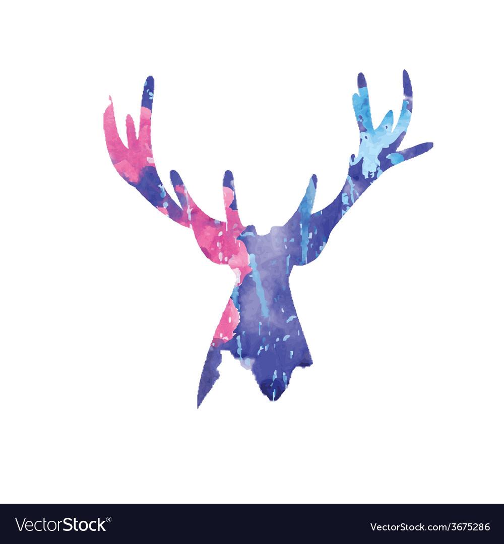 Watercolor deer head vector image