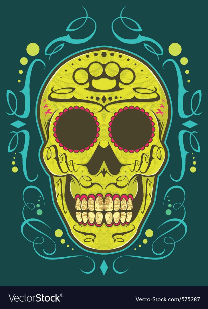 decorative skull color vector image