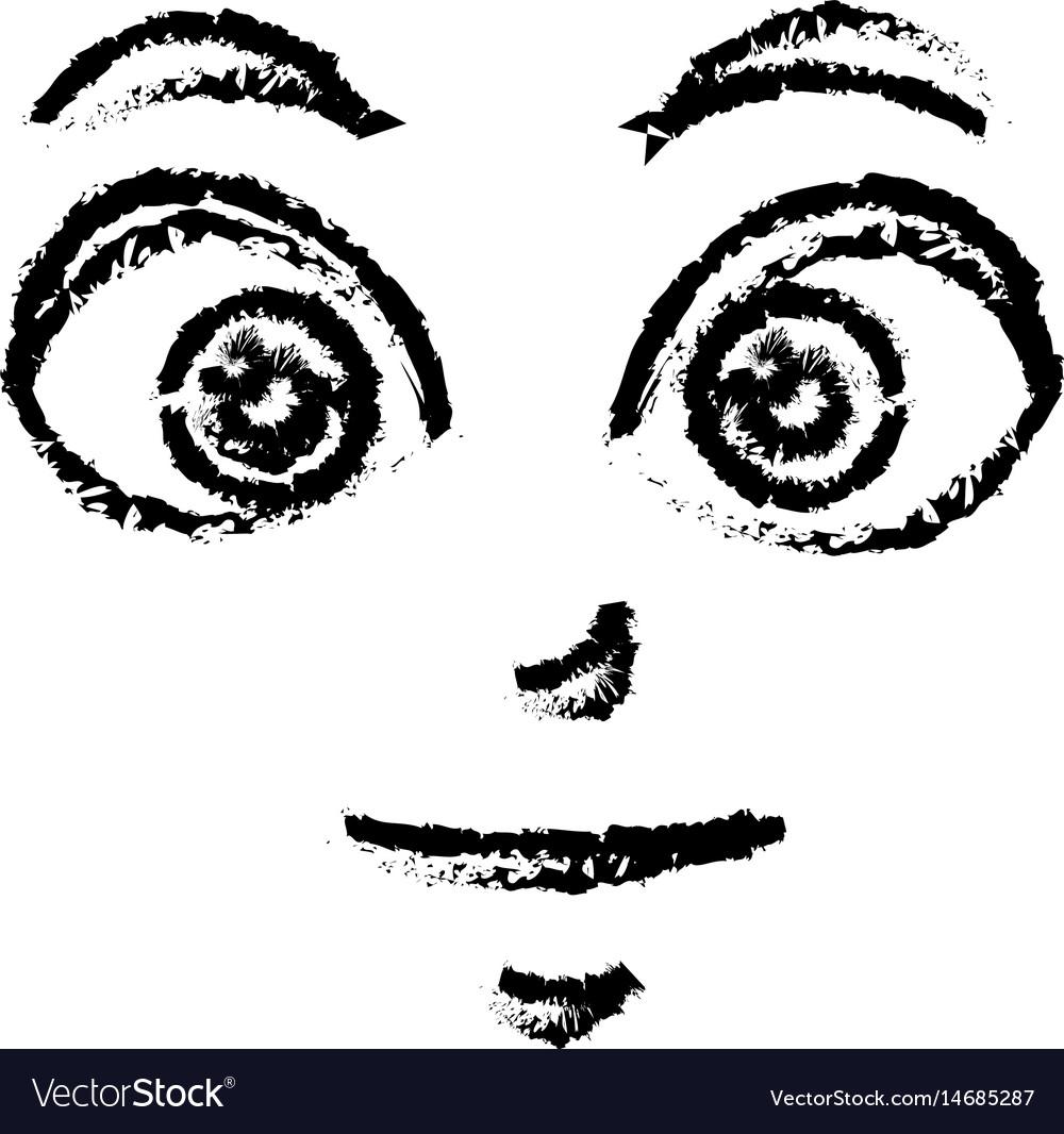Sketch face expression cartoon comic design vector image