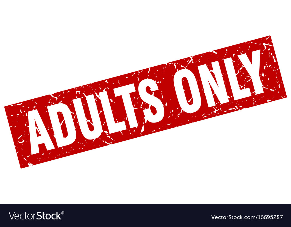 Square grunge red adults only stamp vector image