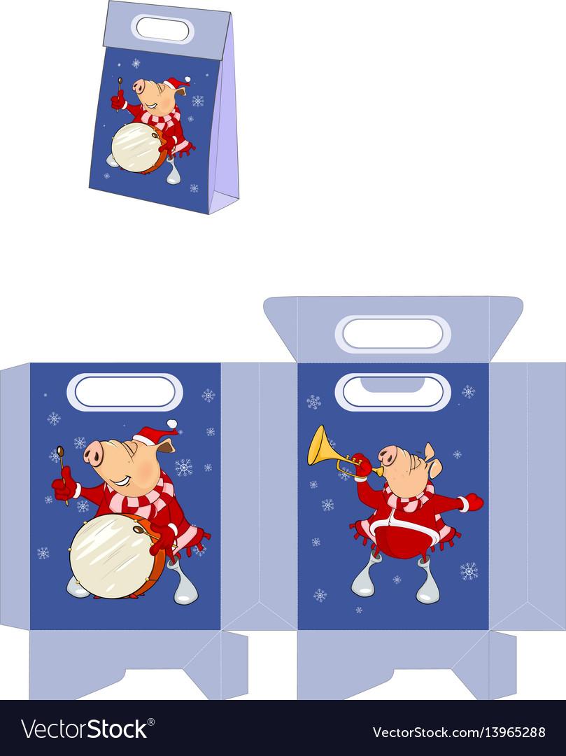 Christmas pig handbags packages pattern vector image