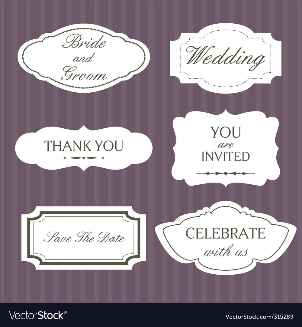 Wedding lablels vector image