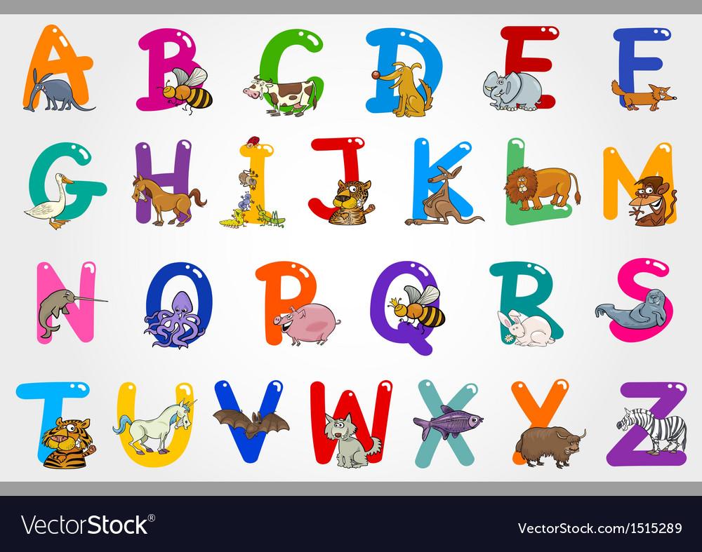 Cartoon Alphabet with Animals vector image