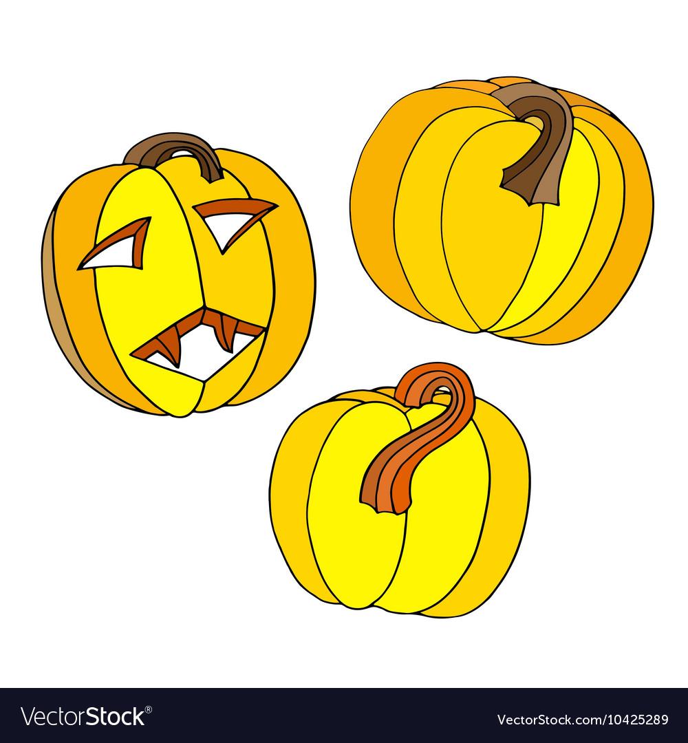 Pumpkin Halloween Icon Set vector image