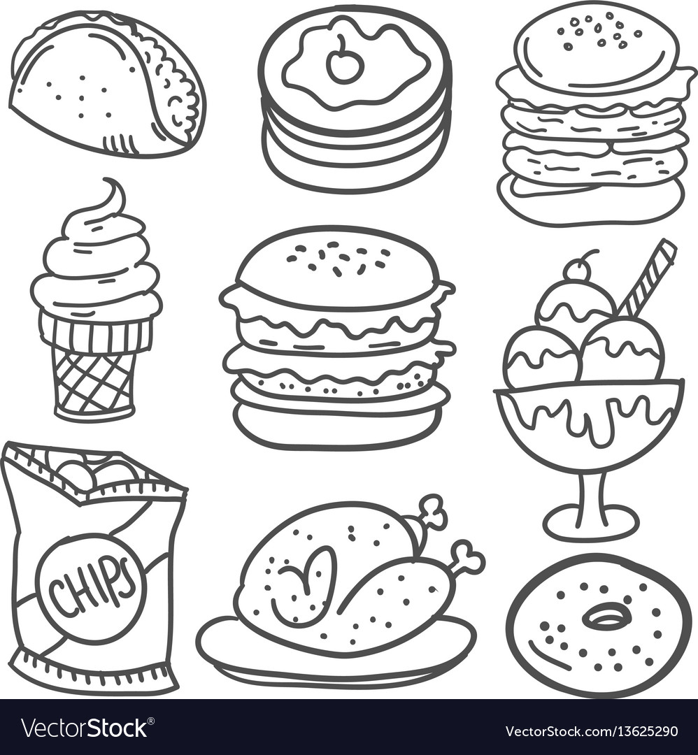 Doodle of drink and food hand draw vector image