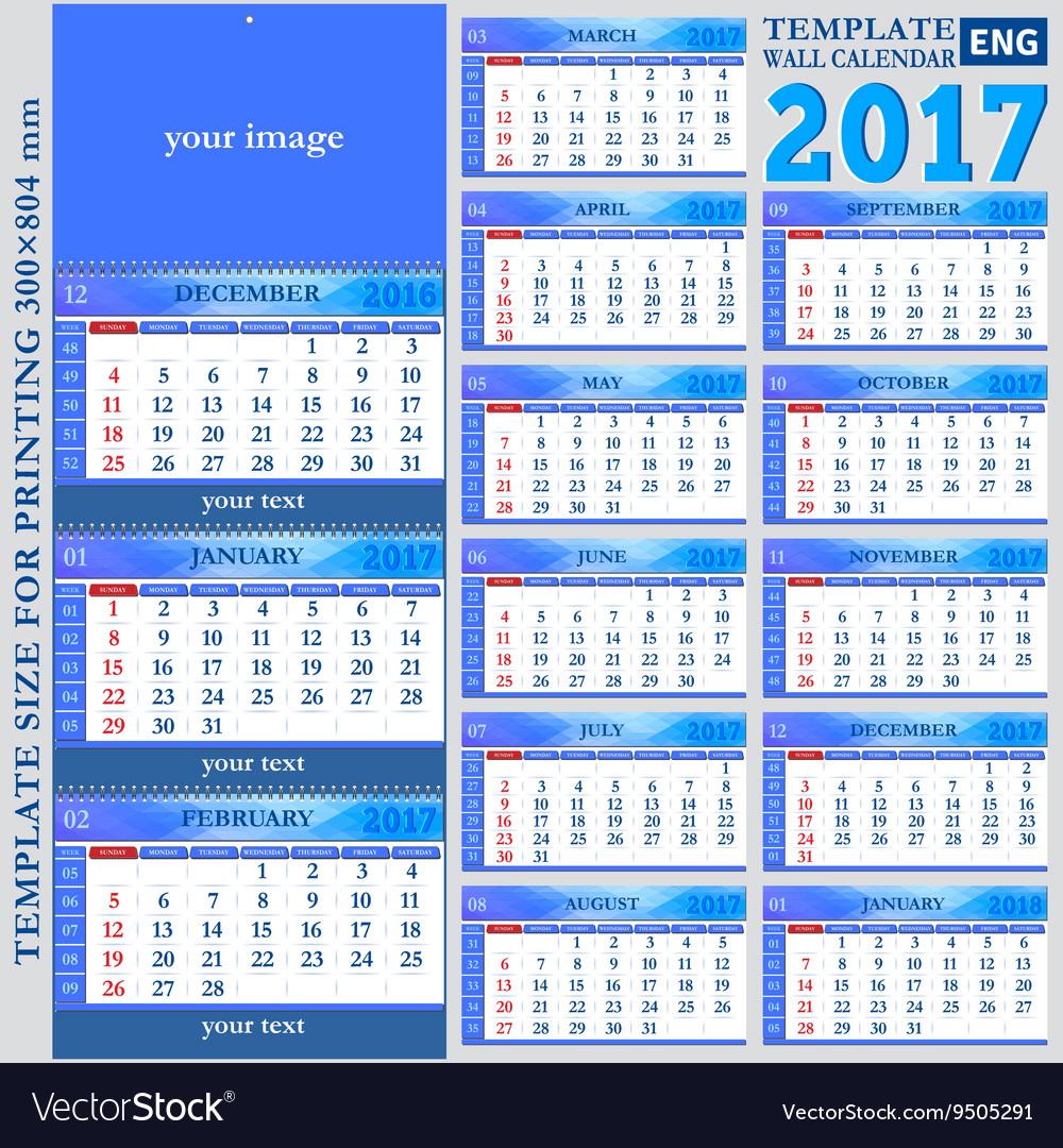 English template wall quarterly calendar 2017 Royalty Free Vector – Quarterly Calendar Template