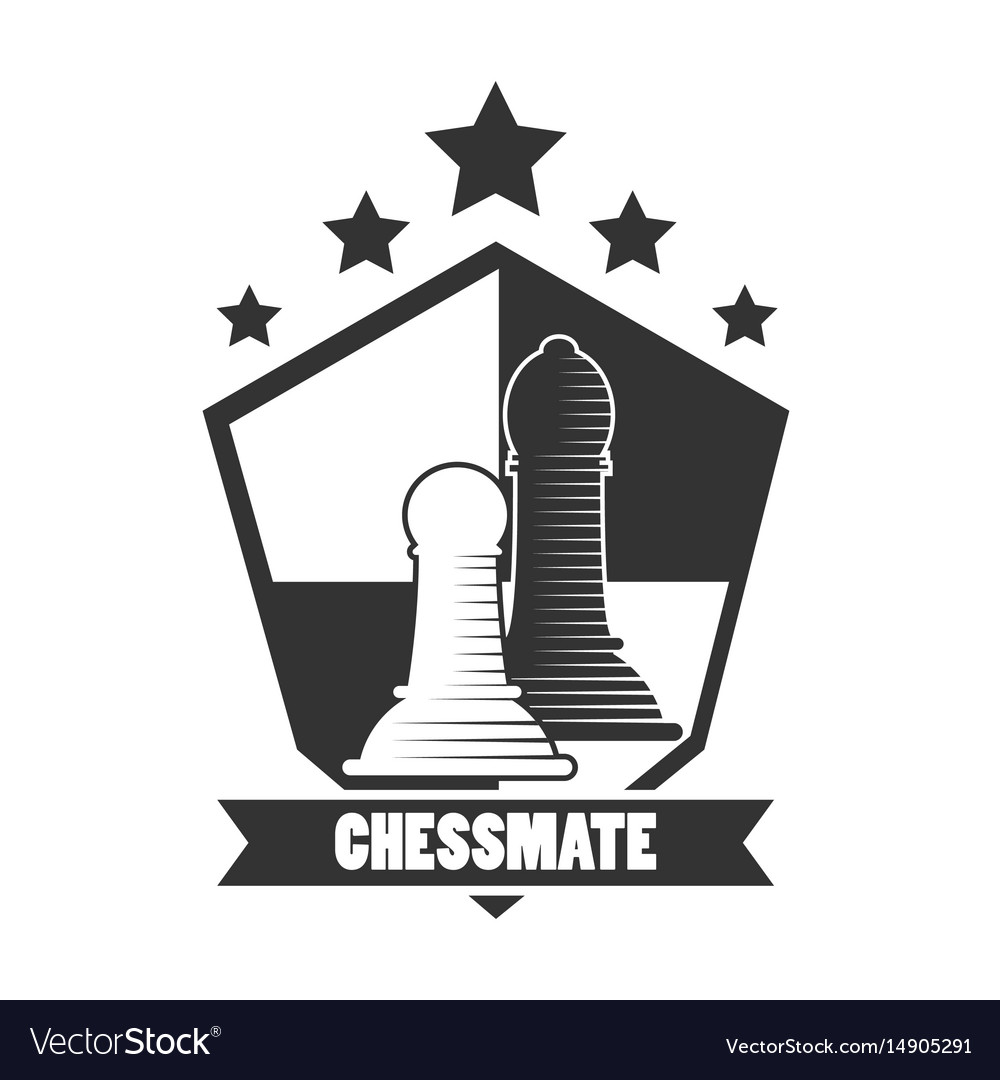 Chessmate club black and white emblem with pawns vector image