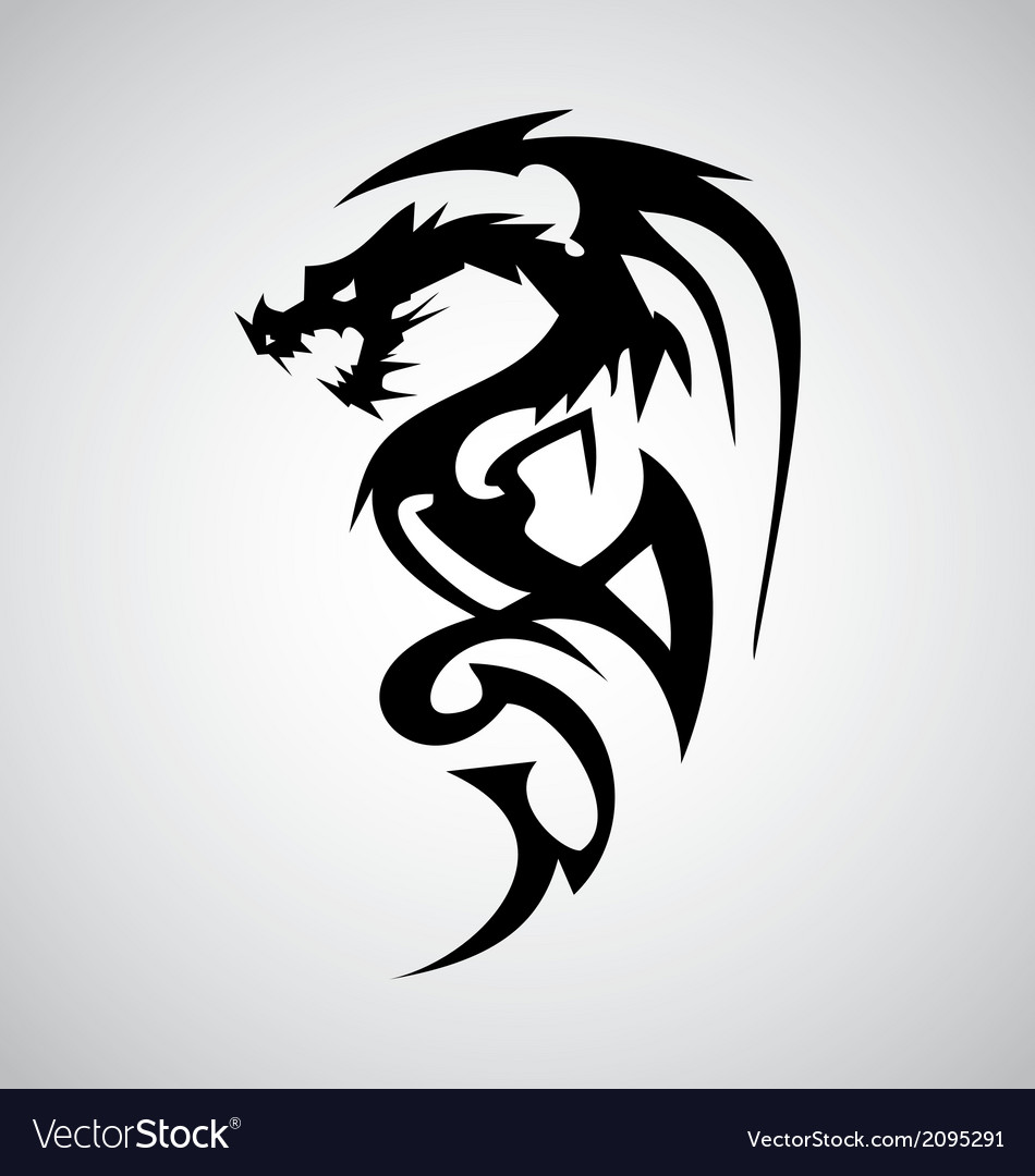 Tribal Dragon Tattoo Design Royalty Free Vector Image