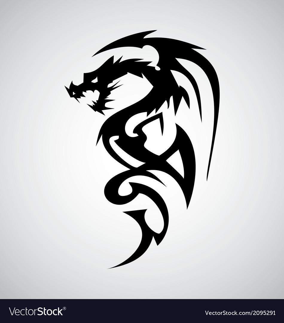 tribal dragon tattoo design royalty free vector image. Black Bedroom Furniture Sets. Home Design Ideas