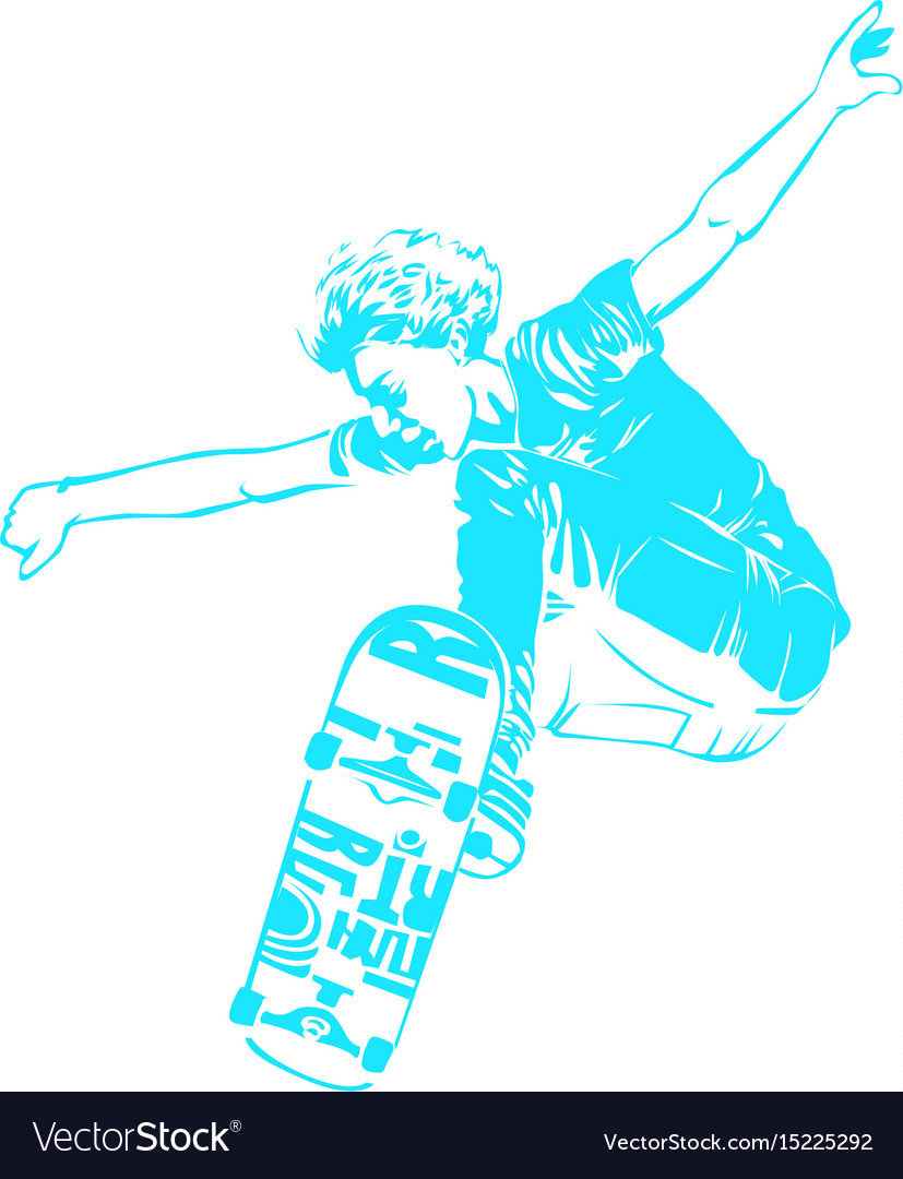 Skateboarder jumping isolated on white skates and vector image