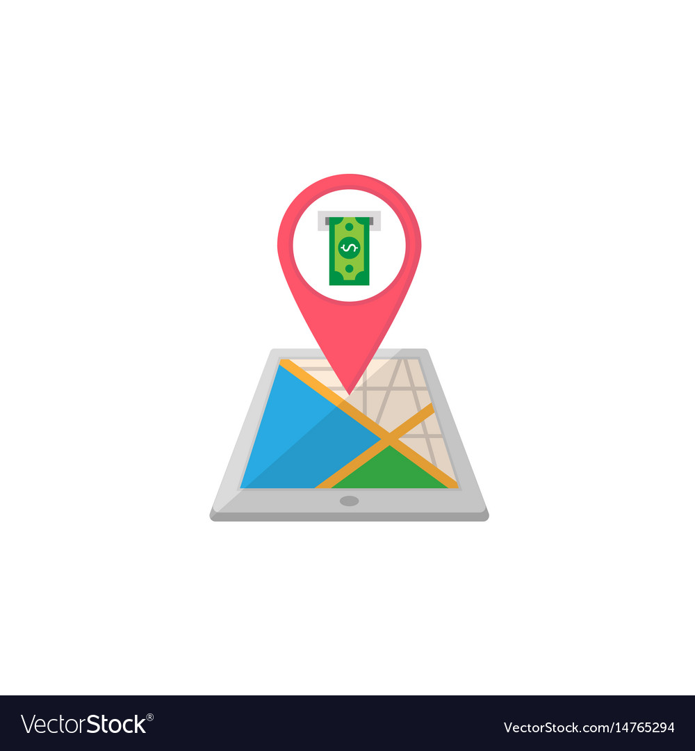 Atm terminal map pointer flat icon mobile gps vector image
