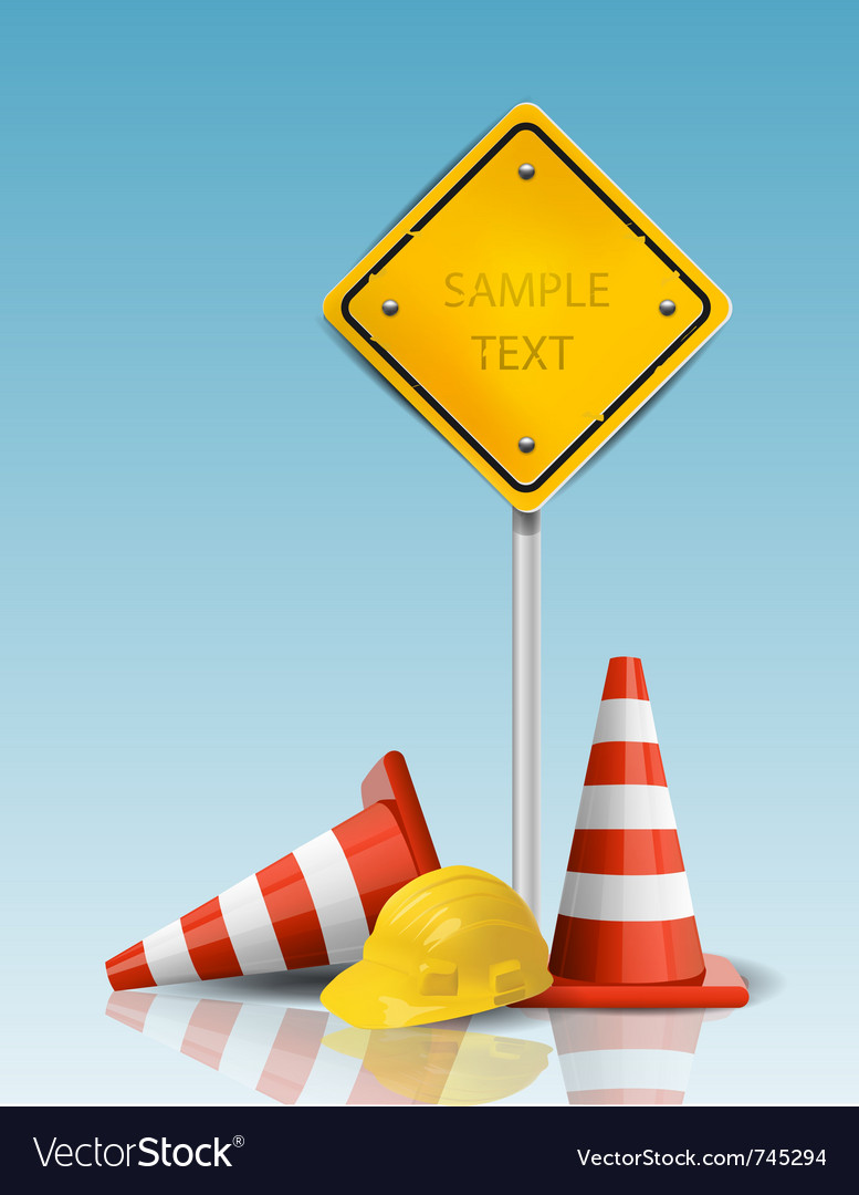 Traffic cones and yellow sign with hard cap vector image