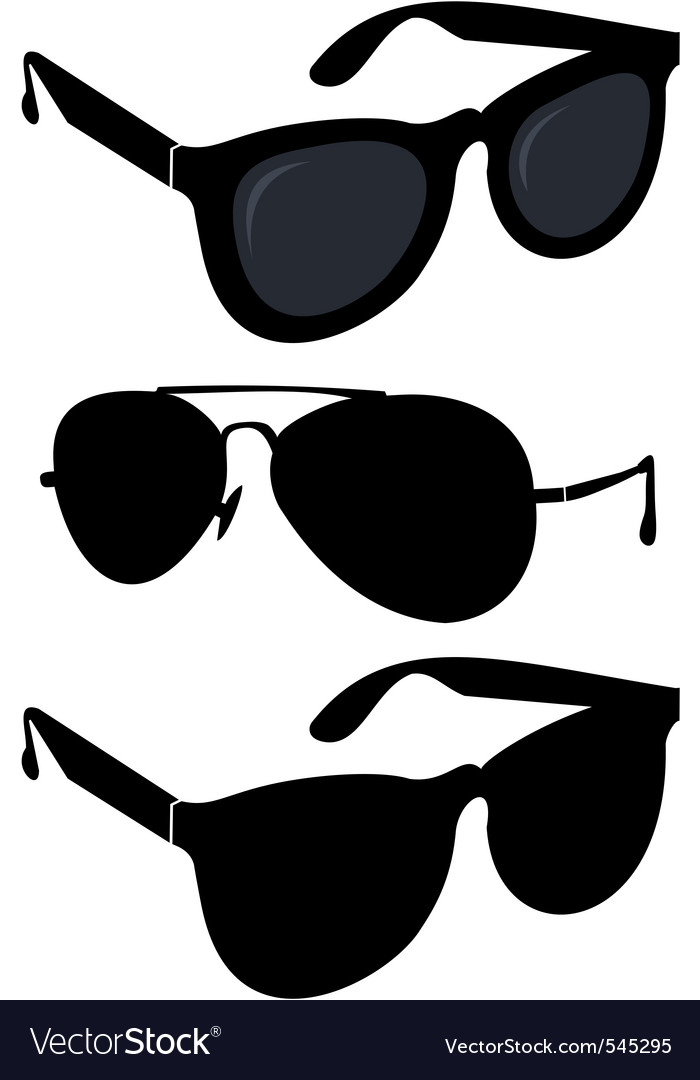 Set of fashionable sunglasses vector image