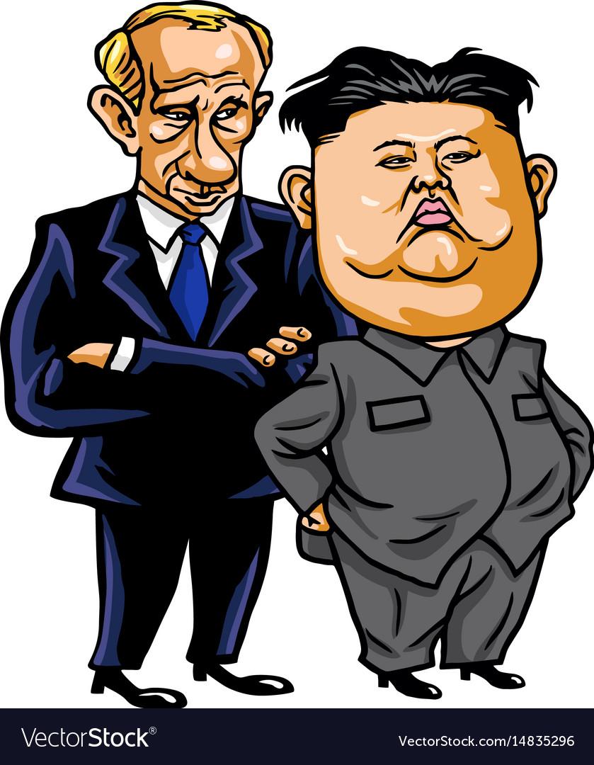 Kim jong-un with vladimir putin cartoon vector image