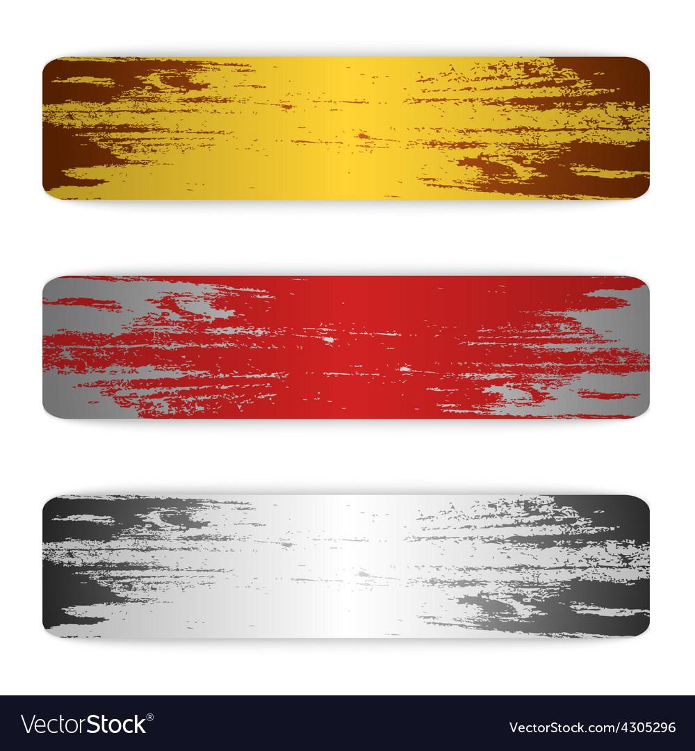 Set of grunge banners metal vector image