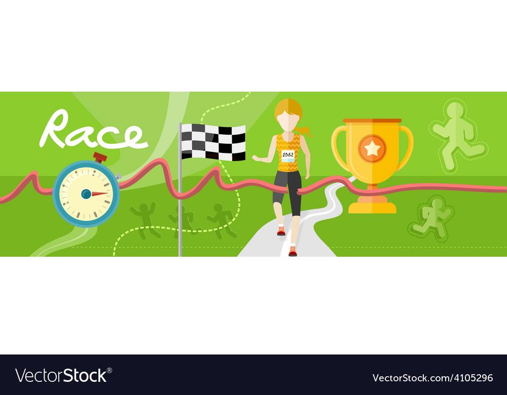 Winning athlete crosses the finish line vector image