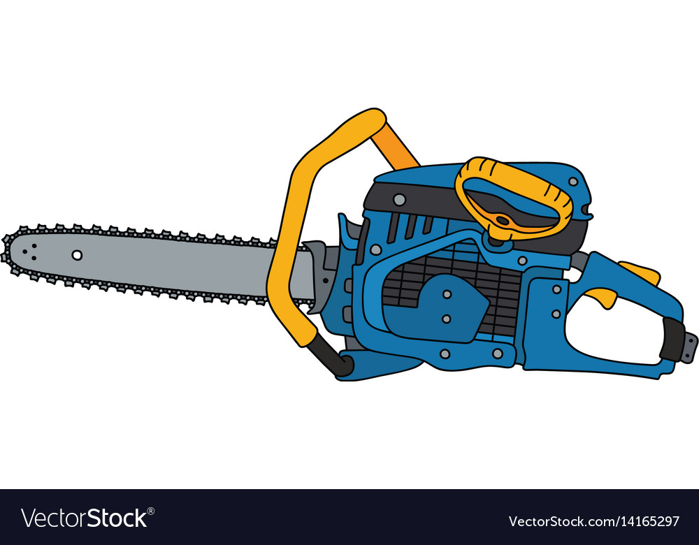 Yellow and blue chainsaw vector image