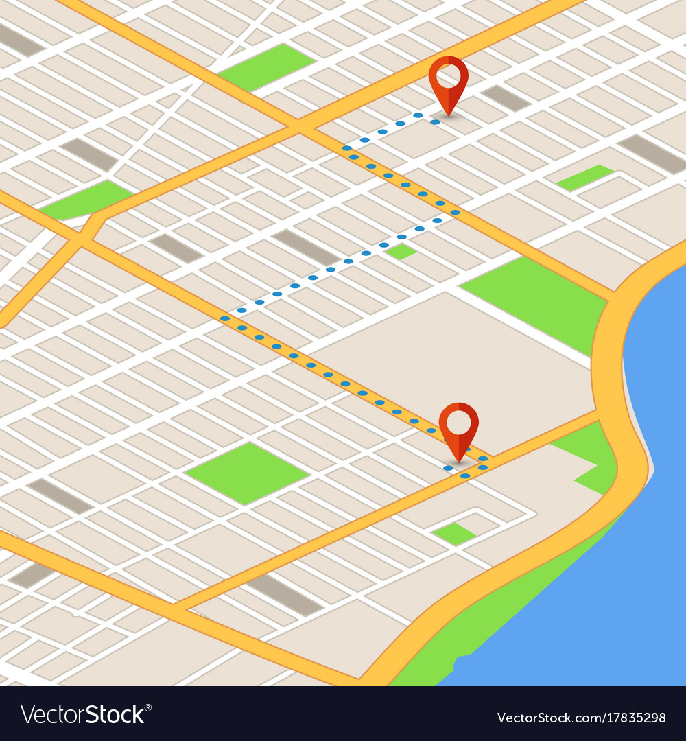 Isometric 3d map with location pins gps vector image