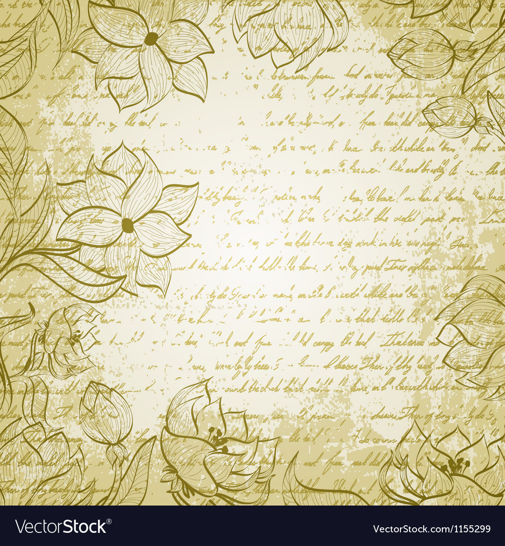 Grungy background with handdrawn flowers vector image