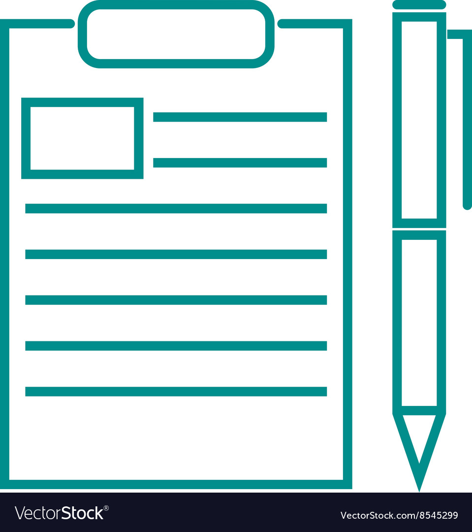 Blank note paper with pen document office page vector image