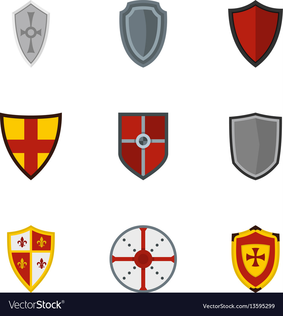 Medieval shield icons set flat style vector image