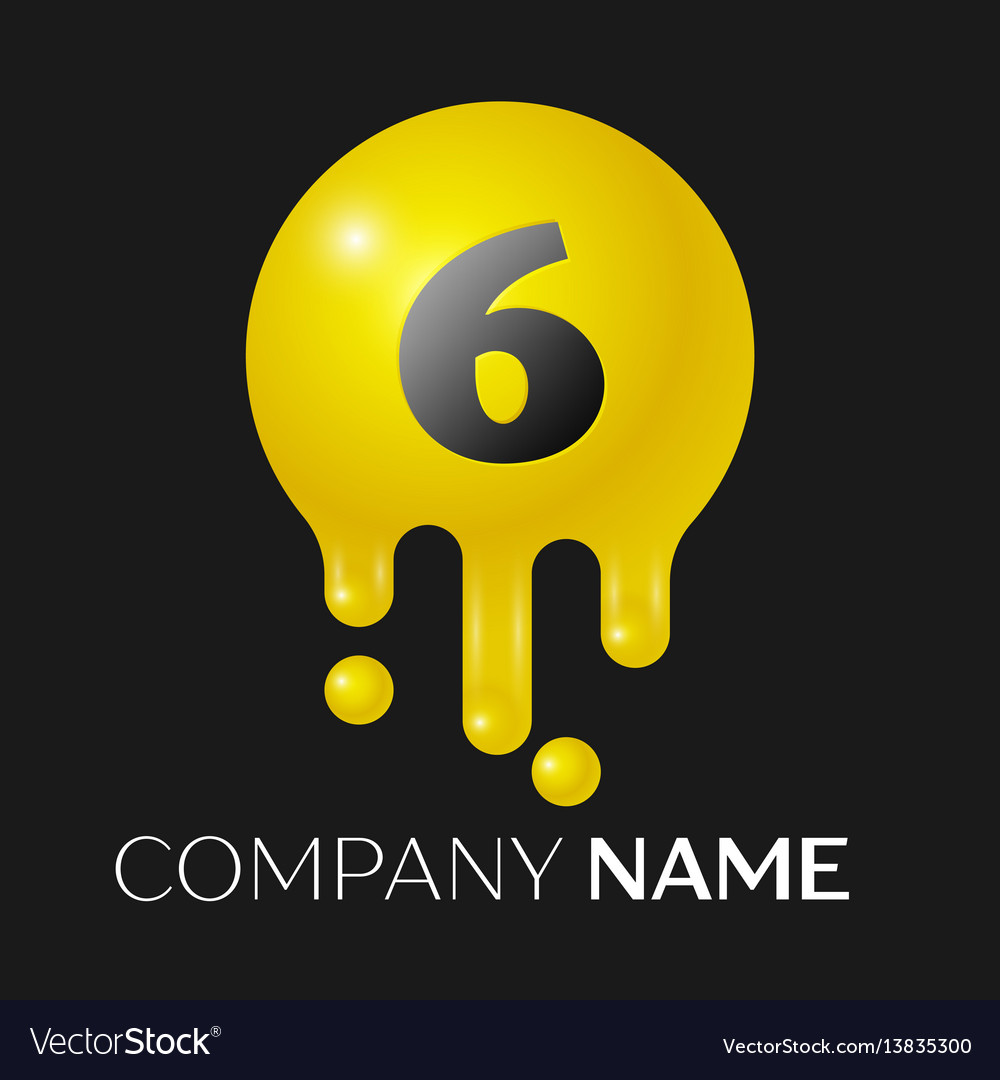 Number six splash logo yellow dots and bubbles vector image
