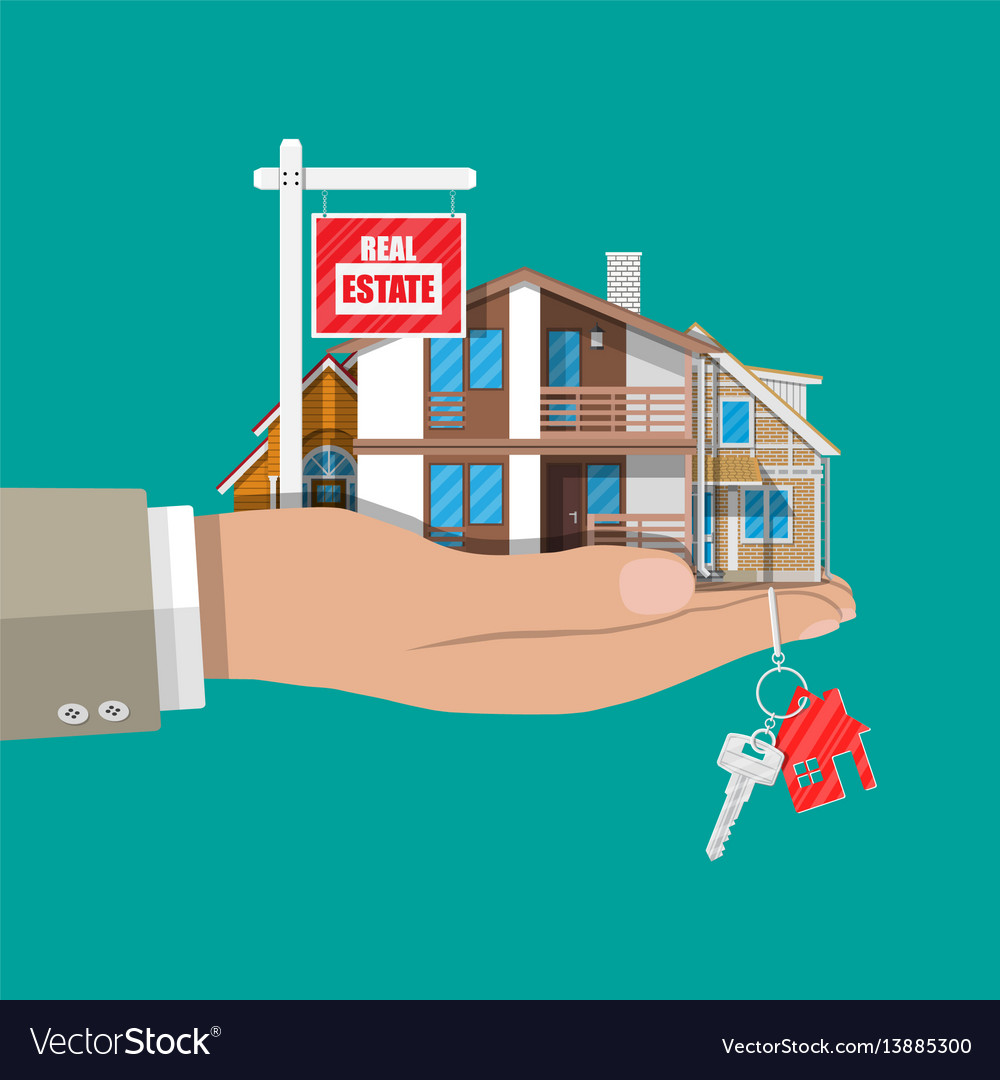 Suburban family house set and for sale placard vector image