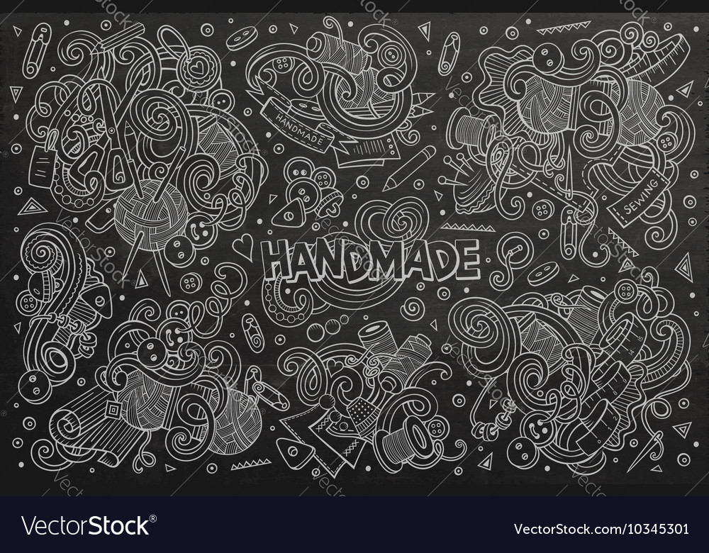 Line Art Hand : Line art hand drawn doodle cartoon set of vector image
