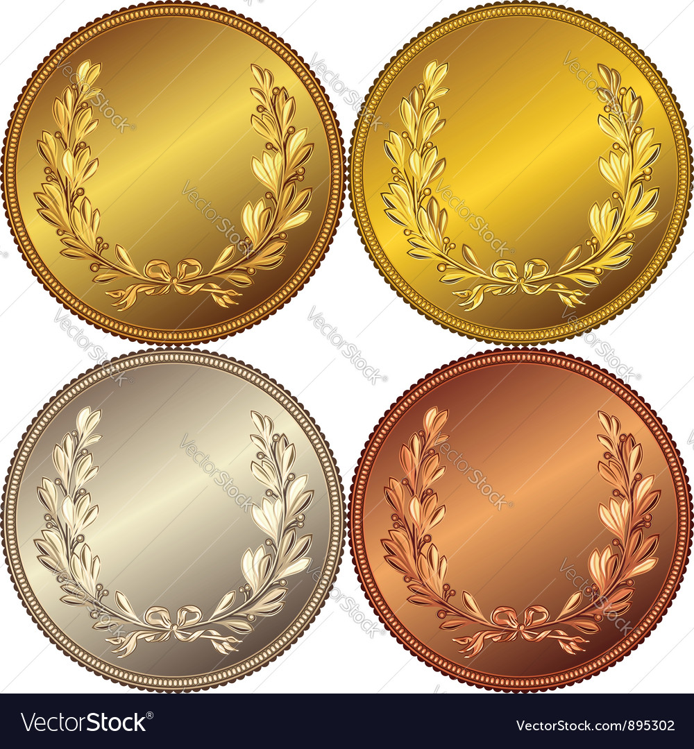 Set of the gold silver and bronze coins vector image