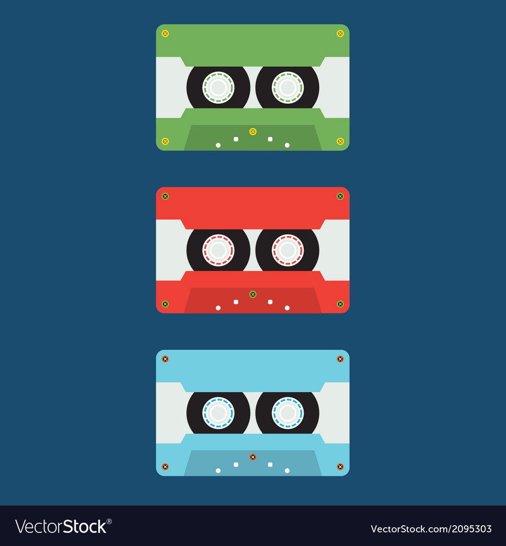 Flat Design Cassette Tape vector image