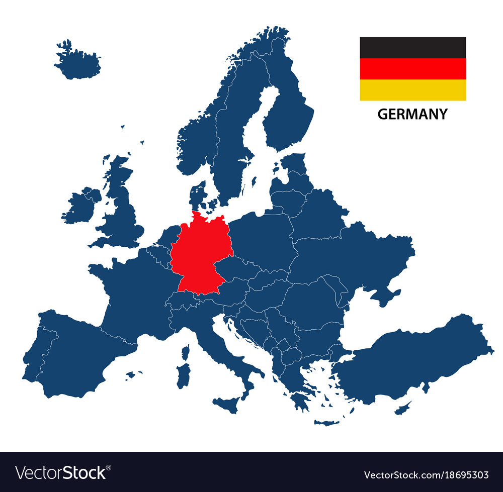 Map of europe with highlighted germany royalty free vector map of europe with highlighted germany vector image gumiabroncs Image collections
