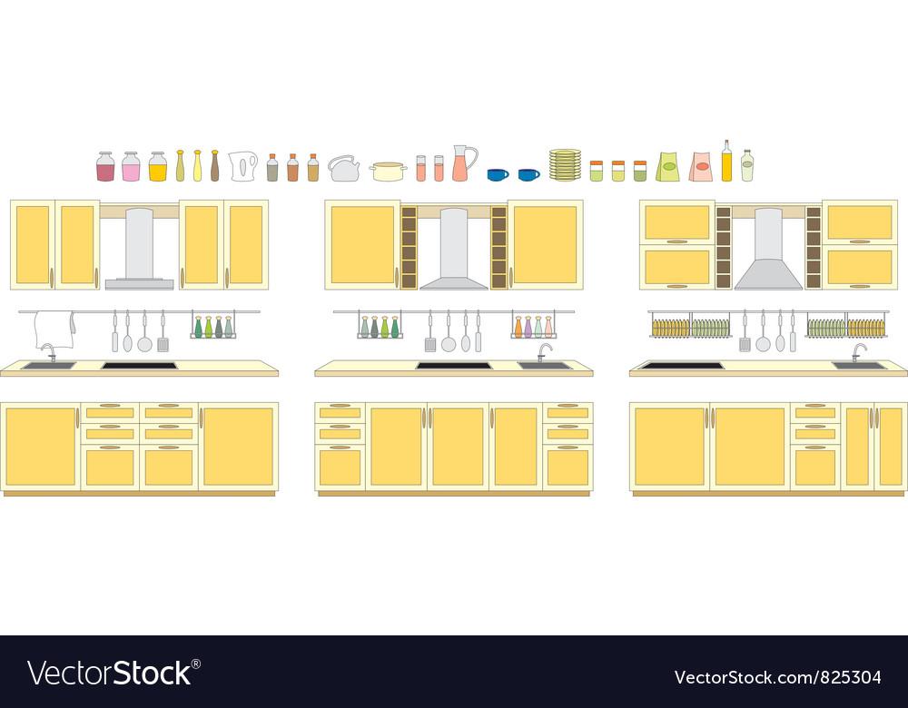 Sets of kitchen furniture vector image