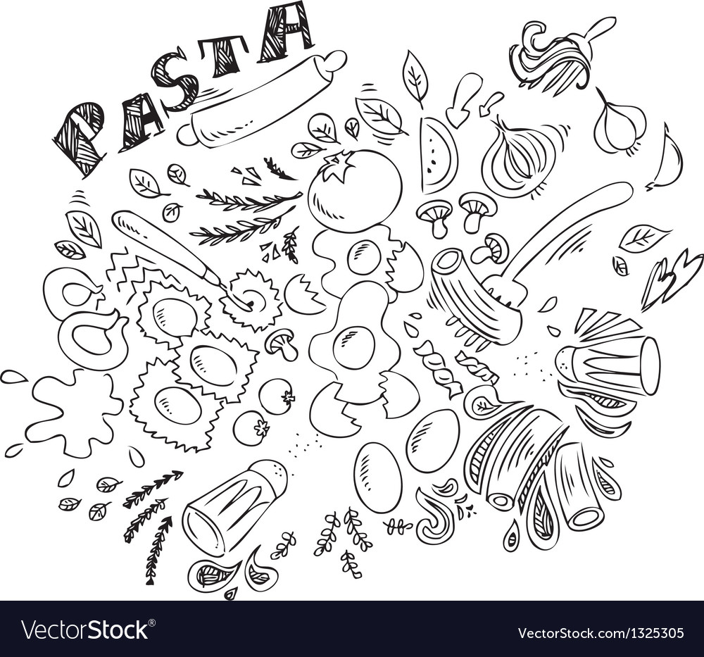 Pasta and ingredients for cooking italian food vector image