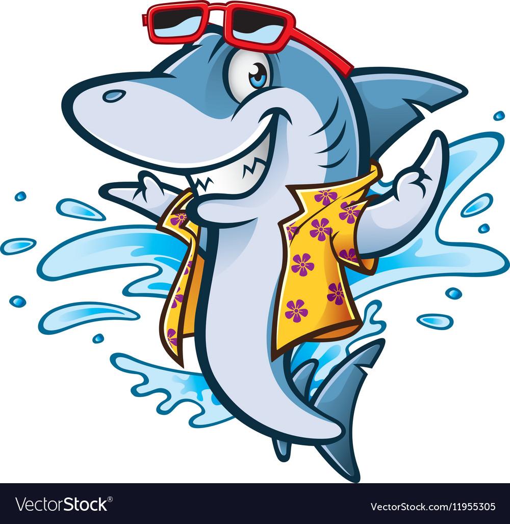 Cartoon Shark Beach vector image