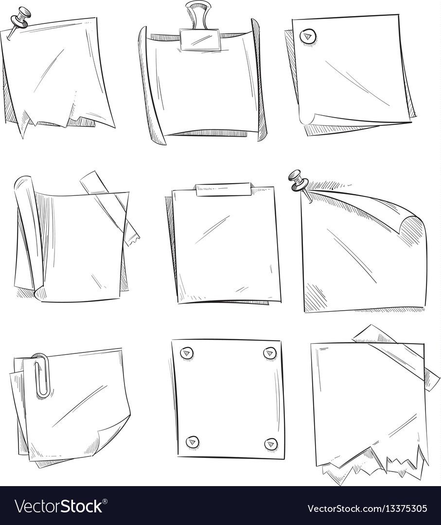 Doodle memo hand drawn notepaper art school vector image