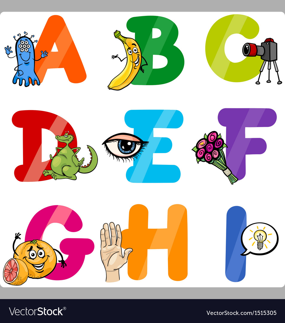 Worksheets Alphabet  Letter education cartoon alphabet letters for kids vector image