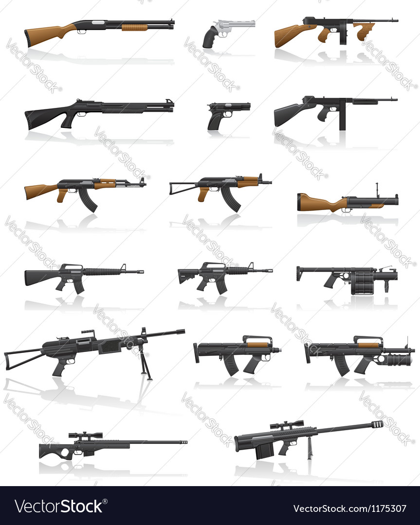 Weapon and gun set collection icons 01 Vector Image
