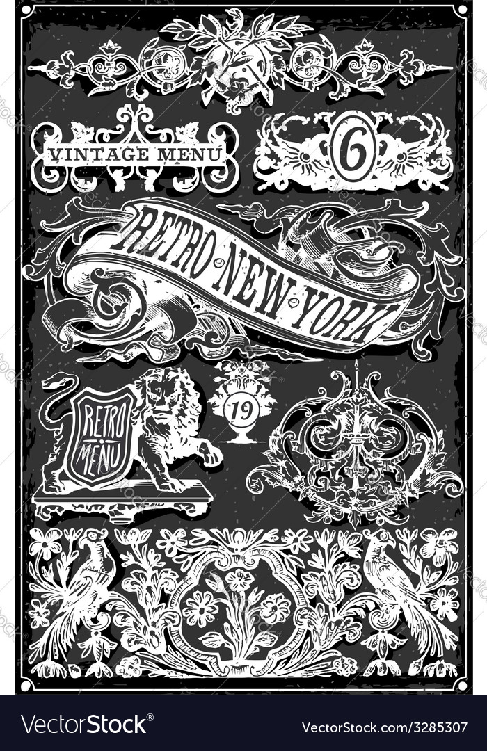 Vintage Blackboard Hand Drawn Banners and Labels vector image