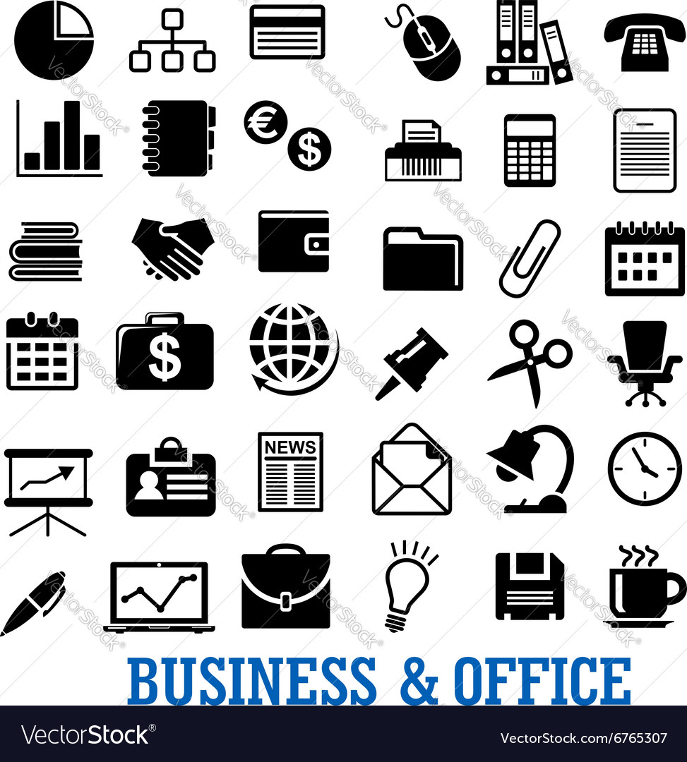 Business finance and office flat icons set vector image