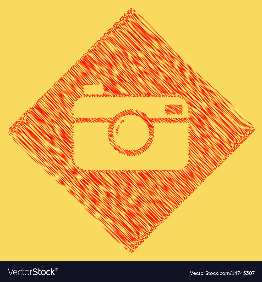 Digital photo camera sign red scribble vector image