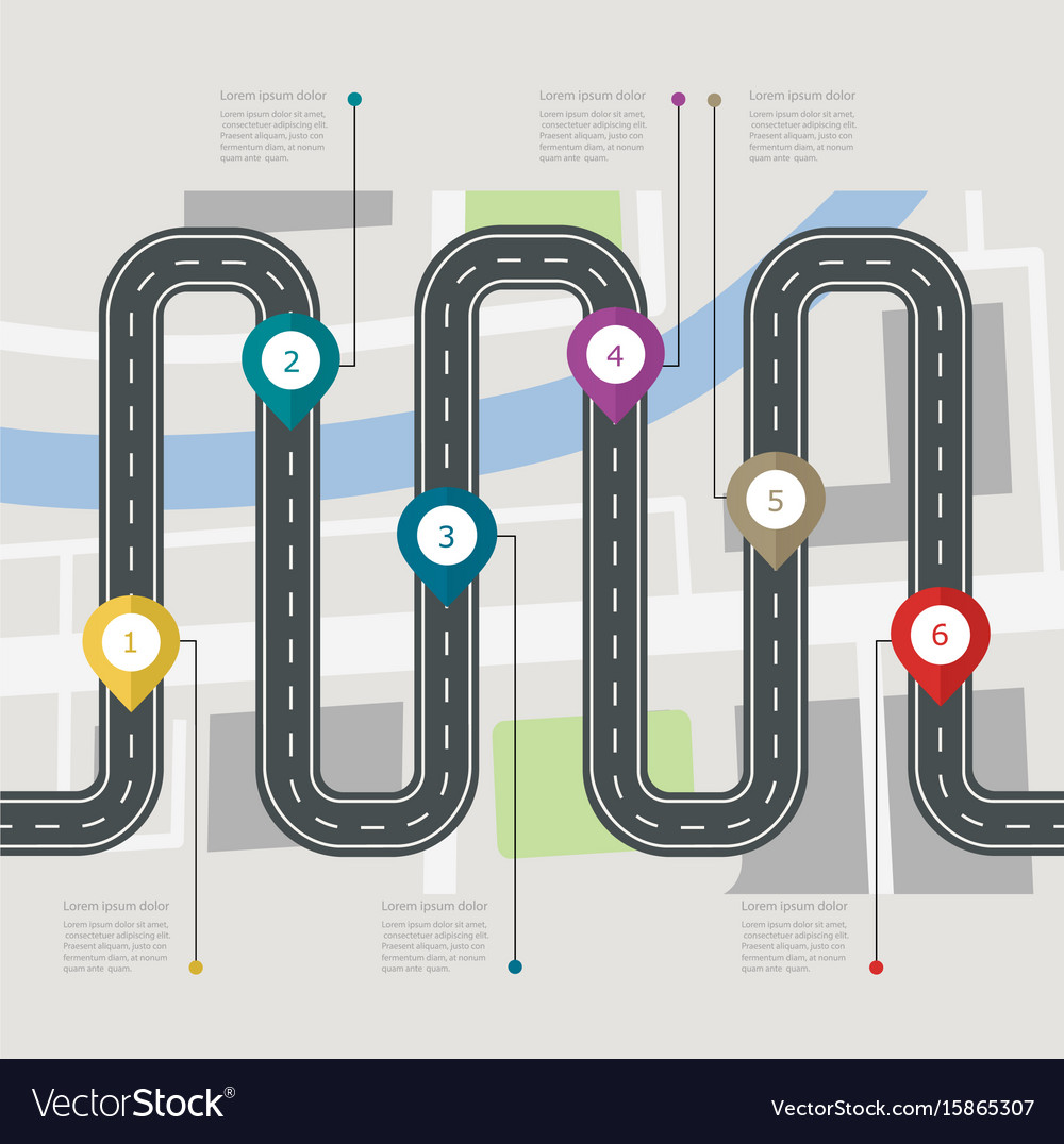 Road infographic stepwise structure vector image