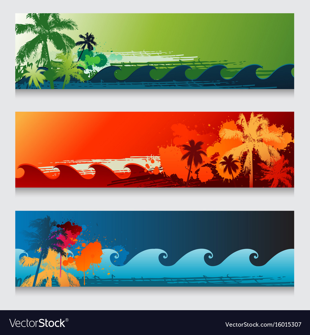 Summer horizontal beach colourful abstract banners vector image