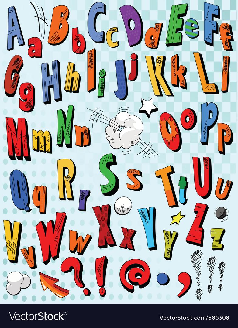 Comic book alphabet vector image